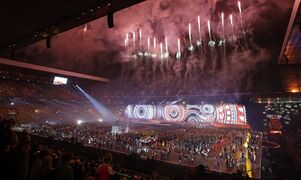 Fireworks explode overhead during the opening ceremony for the Commonwealth Games 2014 in Glasgow, Scotland, Wednesday July 23, 2014. (AP Photo/Kirsty Wigglesworth)