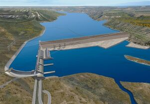 The projected BC Hydro Site C Dam is pictured in an artist's rendering. THE CANADIAN PRESS/HO, BC Hydro.