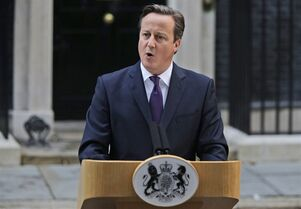 British Prime Minister David Cameron makes a statement to the media about Scotland's referendum results, outside his official residence at 10 Downing Street in central London, Friday, Sept. 19, 2014. Scottish voters have rejected independence, deciding to remain part of the United Kingdom after a historic referendum that shook the country to its core. The decision prevented a rupture of a 307-year union with England, bringing a huge sigh of relief to the British political establishment. (AP Photo/Lefteris Pitarakis)