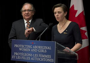 Aboriginal Affairs Minister Bernard Valcourt and Status of Women Minister Kellie Leitch held a separate news conference Friday.