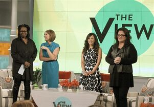 In this image released by ABC, co-hosts, from left, Whoopi Goldberg, Nicolle Wallace, Rosie Perez and Rosie O'Donnell appear on the set of the daytime talk show