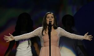Dina Garipovaof Russia performs her song What If during the final of the Eurovision Song Contest at the Malmo Arena in Malmo, Sweden, Saturday, May 18, 2013. The contest is run by European television broadcasters with the event being held in Sweden as they won the competition in 2012. (AP Photo/Alastair Grant)