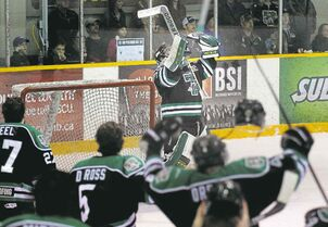 Portage Terriers netminder Justin Laforest thanks the hockey powers as his club captures the MJHL championship title Tuesday night in Steinbach.