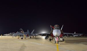 A Canadian Armed Forces CF-18 Fighter jet from 409 Squadron sits on the tarmac in Kuwait on Tuesday, October 28, 2014. THE CANADIAN PRESS/HO, DND-MND