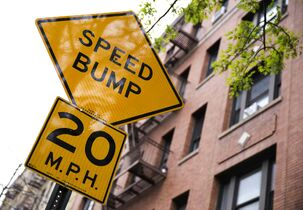 A Slow Zone sign on Seaman Avenue and 218th Street in New York City is helping the city eliminate traffic deaths.