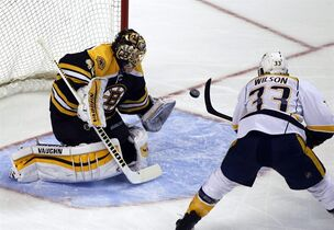 Nashville Predators center Colin Wilson (33) puts the puck past Boston Bruins goalie Tuukka Rask (40) for a goal during the first period of an NHL hockey game in Boston, Tuesday, Dec. 23, 2014. (AP Photo/Elise Amendola)