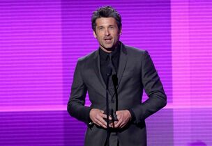 FILE- In this Nov. 23, 2014 file photo, Patrick Dempsey presents the award for pop/rock band, duo or group on stage at the 42nd annual American Music Awards in Los Angeles. In the Thursday, April 23, 2015, episode of