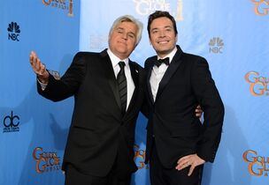 """FILE - This Jan. 13, 2013 file photo shows Jay Leno, left, and Jimmy Fallon backstage at the 70th Annual Golden Globe Awards in Beverly Hills, Calif. Fallon will lead top comedians in saluting his """"Tonight Show"""" predecessor Jay Leno with the nation's top humor prize in October at the Kennedy Center in Washington. Leno will receive the prize during a performance by his fellow comedians Oct. 19 in Washington. The show will be broadcast nationally Nov. 23 on PBS stations. (Photo by Jordan Strauss/Invision/AP, file)"""