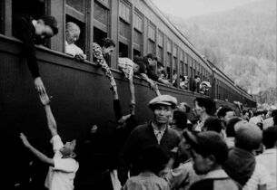 Japanese-Canadians are relocated to camps in the interior of British Columbia in this photo taken between 1942-1946.