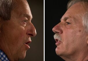 In this two-photograph panel, B.C. Education Minister Peter Fassbender, left, and B.C. Teachers' Federation president Jim Iker, right, speak about the teachers' strike during separate news conferences in Vancouver, B.C., on Sunday August 31, 2014. Public school teachers in B.C. began full-scale strike action in mid-June, following several weeks of rotating walkouts. THE CANADIAN PRESS/Darryl Dyck
