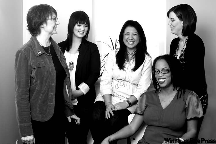 Laurie Howard, Vanessa Kunderman, Luisa Alarcon, Leslie Hackett and Amanda Bibeau (from left) know the value of financial responsibility from personal experience. They tell how they overcame bereavement, personal and family illness and other problems, sometimes at an early age, and began budgeting, saving and investing even when they had next to no money.