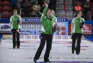 Saskatchewan skip Stefanie Lawton celebrates her page playoff win over team Canada at the Scotties Tournament of Hearts in Moose Jaw, Sask. She later fell to Alberta's Val Sweeting in the semifinal game.