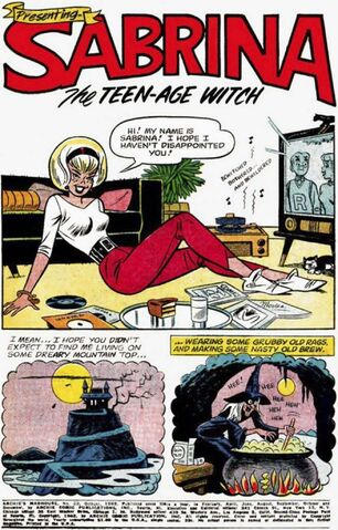 """Sabrina first appeared in """"Archie's Madhouse†#22 in 1962. Art by Dan DeCarlo. (Archie Comic Publications Inc.)</p></p>"""