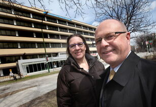 Brenda Peters-Watral, a graduate student who received an award from the Irene E. Nordwich Foundation, with trustee Elden Wittmier outside Misericordia Health Centre.