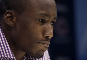 Chicago Bears receiver Brandon Marshall talks to reporters after old domestic abuse allegations resurfaced Thursday, Sept. 18, 2014, in Lake Forest, Ill. (AP Photo/Charles Rex Arbogast)