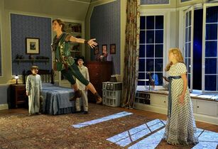 FILE - this Nov. 8, 2014 image provided by NBC shows, from left, John Allyn as Michael Darling, Allison Williams as Peter Pan, Jake Lucas as John Darling, and Taylor Louderman as Wendy Darling from the musical version,