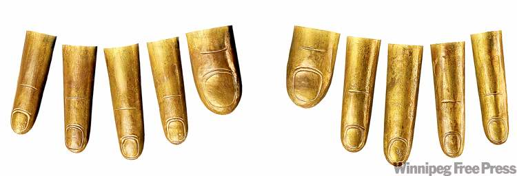 Some of the 20 golden covers that protected Tut's mummified fingers and toes.