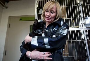 Laureen Harper holds Gramps, a three-legged cat up for adoption at the B.C. SPCA Vancouver branch on April 26, 2013. Laureen Harper was introducing the