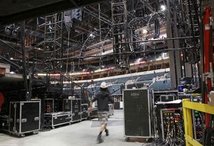 Crews are busy constructing the stage for the annual Juno Awards ceremonies to be held in Winnipeg next Sunday night at the MTS Centre.
