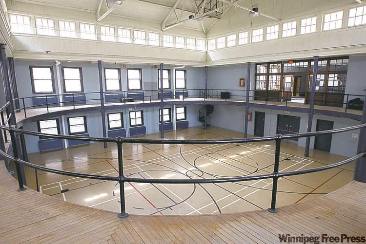 The  women's gym, with running track and reduced- size basketball court. It is slated for demolition.