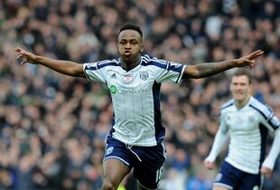 West Brom's Saido Berahino celebrates after scoring against Southampton during the English Premier League soccer match between West Bromwich Albion and Southampton at the Hawthorns, West Bromwich, England, Saturday, Feb. 28, 2015. (AP Photo/Rui Vieira)