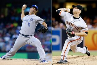 FILE - At left in an Aug. 23, 2014, file photo, Kansas City Royals starting pitcher Jeremy Guthrie throws during the first inning of a baseball game against the Texas Rangers, in Arlington, Texas. At right, in a Sept. 19, 2014, file photo, San Francisco Giants starting pitcher Tim Hudson throws against the San Diego Padres during the first inning of a baseball game in San Diego. Guthrie and Hudson will be the starters for Game 3 of the World Series Friday, Oct. 24, 2014, in San Francisco. (AP Photo/Don Boomer, File)
