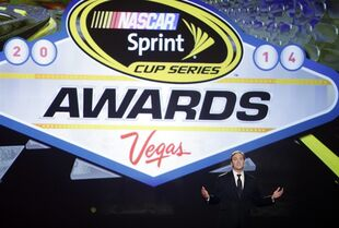 FILE - In this Dec. 5, 2014, file photo, Jay Mohr hosts the NASCAR Sprint Cup Series auto racing awards at Wynn Las Vegas in Las Vegas. Sprint informed NASCAR it won't extend title sponsorship of the top Sprint Cup Series beyond its current contract, which expires after the 2016 season.