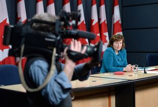 Suzanne Legault, Information Commissioner of Canada, holds a press conference in the National Press Theatre in Ottawa on Tuesday, March 31, 2015, after tabling her special report