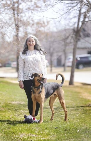 Nahanni Fontaine says Chilly Dog, her German shepherd/greyhound mix, gives her great motivation to keep active and get out the house.</p>