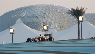 Mercedes driver Lewis Hamilton of Britain steers his car during second free practice at the Yas Marina racetrack in Abu Dhabi, United Arab Emirates, Friday, Nov. 21, 2014. The Emirates Formula One Grand Prix will take place on Sunday. (AP Photo/Luca Bruno)