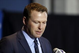 St. Louis Blues' Martin Brodeur announces his retirement from NHL hockey during a news conference, Thursday, Jan. 29, 2015, in St. Louis. Brodeur finished his career with St. Louis after 21 seasons as goaltender with New Jersey. He will remain with the Blues as a senior adviser to general manager Doug Armstrong. (AP Photo/Jeff Roberson)
