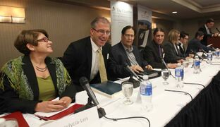 Mayoral candidates Judy Wasylycia-Leis (far left) Gord Steeves (second from left) and Brian Bowman (far right) will make policy announcements this morning.