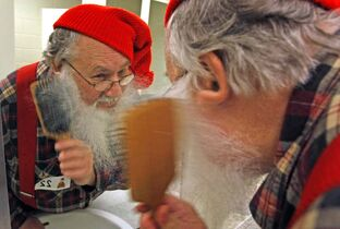 Stu Ritterman gets his beard ready for the Festival du Voyageur beard growing contest in the 'wild and woolly' category in 2009.