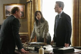 This image released by ABC shows actors, from left, Jeff Perry, Kerry Washington and Tony Goldwyn in a scene from