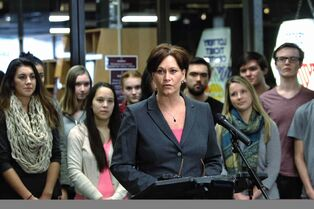 NDP leadership candidate Theresa Oswald announces plans to make post-secondary education more affordable Sunday.