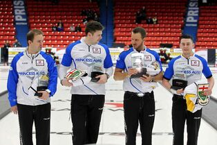 Colin Hodgson, lead on Team Manitoba at the Brier, shown here on the far right, with skip Reid Carruthers, third Braeden Moskowy and second Derek Samagalski after the team won the provincial championship earlier this month.