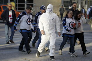 Jets fans arriving at MTS Centre prior to Game 4 between the Winnipeg Jets and Anaheim Ducks, Wednesday.