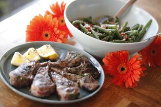 Warm Bean Salad with Cherry Tomatoes and Lamb Chops.