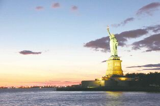 A view of the Statue of Liberty from a Circle Line Cruises boat.