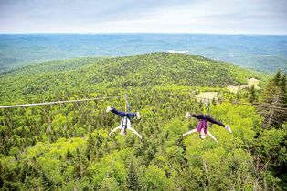 The new Ziptrek Ecotour at Tremblant, composed of five  zip lines from summit to base, can soar as high as a 25-storey building and rocket up an astounding 100 km/h.