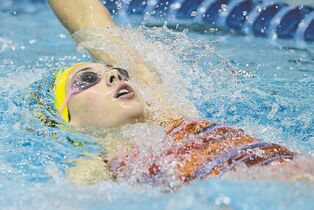 Kelsey Wog of the Bisons competes in the age 15-18, 200-metre individual medley at the 2014 Canadian Age Group Championships in Winnipeg's Pan Am Pool Sunday.