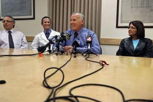 Dr. Bill Bry, center, speaks during a media conference beside, from left, Dr. Robert Osorio, Dr. Steven Katznelson, Medical Director of CPMC's Kidney Transplant Program, and kidney donor Zully Broussard at California Pacific Medical Center on Wednesday, March 4, 2015 in San Francisco. In a rare series of interlinked operations, six patients are getting kidney transplants from six donors at a San Francisco hospital. Dr. William Bry, a surgeon at California Pacific Medical Center, said the