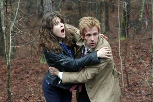 From left: Lucy Griffiths as Liv, Matt Ryan as John Constantine in the pilot for Constantine.