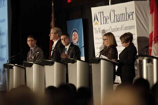 From left, mayoral candidates Robert-Falcon Ouellette,  Gord Steeves, Brian  Bowman, Paula Havixbeck and Judy Wasylycia-Leis  during the debate at the Winnipeg Chamber of Commerce luncheon Thursday.