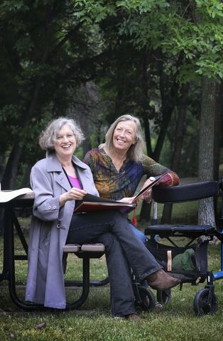 Fellow writers Laurie Lam, left, and Ingeborg Boyens met through a long-lost photo album and discovered they have a lot in common. (Ruth Bonneville / Winnipeg Free Press)</p>