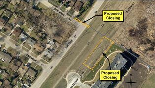 A map of the City of Winnipeg's proposed closing of Raleigh Street and Gateway Road at the boundary between the city and the Rural Municipality of East St. Paul is shown. The closing passed at city council in March, but the RM appealed to the Manitoba Municipal Board, which held a hearing on Sept. 10 and 11.