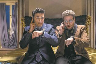 We're being shelved?! James Franco (left) and Seth Rogen in The Interview.