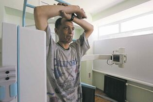 Sergei L. Loiko / TNS Andrei Miller undergoes an X-ray earlier this month at a hospital in Tver, Russia.