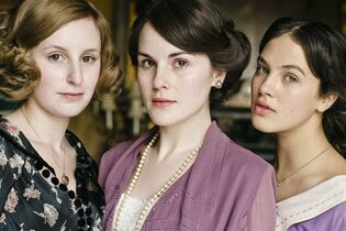 This photo provided by courtesy of MASTERPIECE shows, from left, Laura Carmichael as Lady Edith Crawley, Michelle Dockery as Lady Mary Crawley, Jessica Brown-Findlay as Lady Sybil Crawley, in season 6 of the television series,