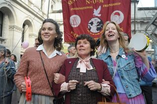 This photo released by CBS Films shows, from left, Liz White as Margaret, Imelda Staunton as Hefina and Nia Gwynee as Gail in a scene from the film,